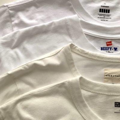 白いTシャツの色味を比較