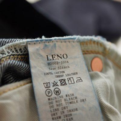 LENOデニムの洗濯タグ