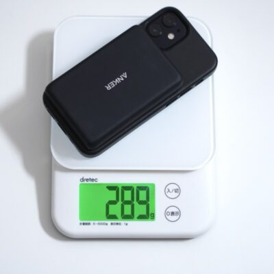 iphone12miniとAnkerモバイルバッテリー合わせた重さ