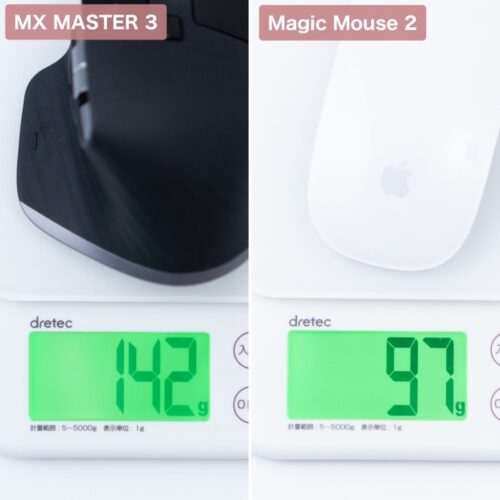 Magic MouseとMX Master 3 for Macの重量比較画像