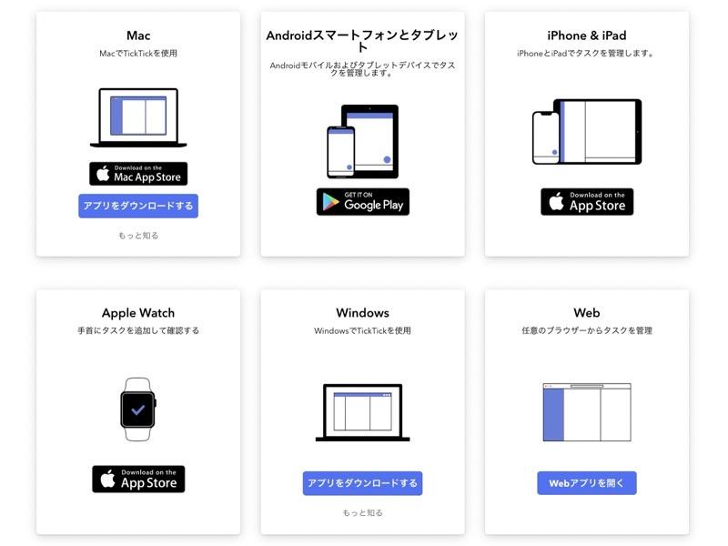 TickTickの対応デバイスの画像